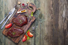 Raw uncooked beef steak meat Stock Images