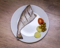 Raw uncooked fish on plate royalty free stock image