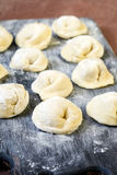 Raw, uncooked freshly made pelmeni Stock Image