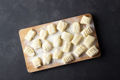Raw uncooked homemade potato gnocchi with flour on cutting board. royalty free stock photo