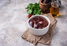 Raw uncooked  liver and spices for cooking. Selective focus Stock Images