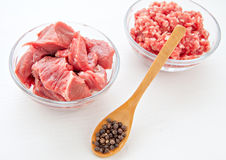 Raw uncooked meat food at white background Royalty Free Stock Photos