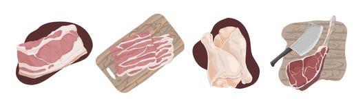 Raw uncooked meat, pork fillet, bacon slices, chicken legs, ham hough, beef gammon, delicious barbecue ingredients set. Butcher shop assortment concept cartoon vector illustration