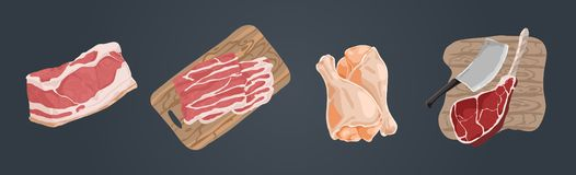 Raw uncooked meat, pork fillet, bacon slices, chicken legs, ham hough, beef gammon, delicious barbecue ingredients set. Butcher shop assortment concept cartoon stock illustration