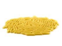 Raw uncooked pasta macaroni. On white background stock photo