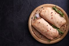 Raw uncooked poultry meat. Duck breasts prepared for cooking. Raw uncooked poultry meat. Duck breasts prepared for cooking stock images