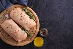Raw uncooked poultry meat. Duck breasts prepared for cooking. Raw uncooked poultry meat. Duck breasts prepared for cooking royalty free stock photos