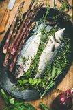 Raw uncooked sea bass fish with herbs and vegetables. Cooking fish dinner. Flat-lay of raw uncooked sea bass fish with fresh herbs and vegetables on dark plate royalty free stock photography