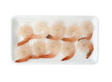 Raw uncooked shrimps isolate on white (clipping path). Stock Photos