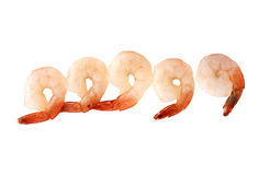 Raw uncooked shrimps isolate on white (clipping path). Royalty Free Stock Photography