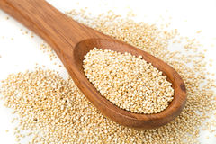 Raw, uncooked, whole quinoa seed in wooden spoon Royalty Free Stock Images
