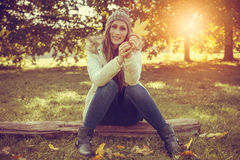 Raw unedited style* carefree female autumn Royalty Free Stock Images