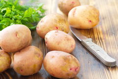 Raw unpeeled potatoes Royalty Free Stock Image