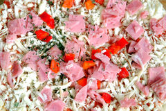 Raw unprepared pizza as background close-up Royalty Free Stock Images