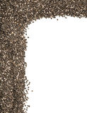Raw unprocessed whole dried black chia seed corner edge backgrou Stock Photo