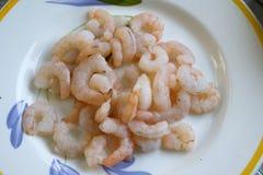 Raw unshelled shrimps Stock Photo