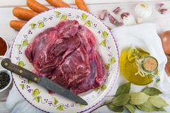 Raw veal cheeks Royalty Free Stock Image