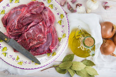 Raw veal cheeks Royalty Free Stock Photography