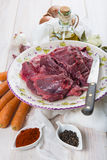 Raw veal cheeks Stock Photos
