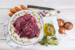 Raw veal cheeks Stock Images