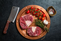Raw veal shank slices meat Royalty Free Stock Photography