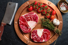 Raw veal shank slices meat Royalty Free Stock Images