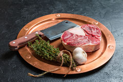 Raw veal shank slices meat Stock Photos