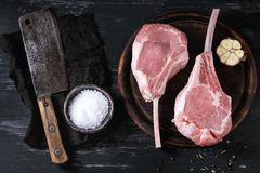 Raw Veal tomahawk steak Royalty Free Stock Photography