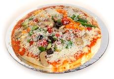 Raw veg pizza three-quarters view Stock Photo