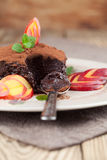 Raw vegan avocado chocolate mousse with nectarine Stock Photos