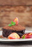 Raw vegan avocado chocolate mousse with nectarine Stock Images
