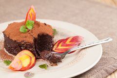 Raw vegan avocado chocolate mousse with nectarine Royalty Free Stock Photography