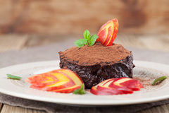 Raw vegan avocado chocolate mousse with nectarine Royalty Free Stock Photo