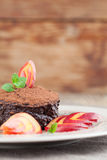 Raw vegan avocado chocolate mousse with nectarine Royalty Free Stock Photos