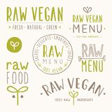 Raw vegan badges. Vector EPS 10 hand drawn labels Royalty Free Stock Image