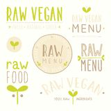 Raw vegan badges. Vector EPS 10 hand drawn labels Stock Photography