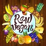 Raw vegan. Beautiful hand drawn illustration fruits on the wood Stock Photo