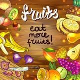 Raw vegan. Beautiful hand drawn illustration fruits on the wood Royalty Free Stock Photos