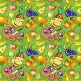 Raw vegan. Beautiful hand drawn seamless pattern fruits on the wood Stock Images