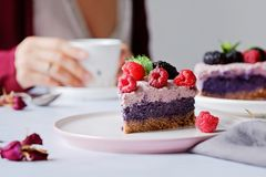 Raw vegan cake with raspberries and bluberries on white table Royalty Free Stock Images