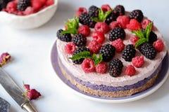 Raw vegan cake with raspberries and bluberries on white table. Raw vegan colorful cake with raspberries and bluberries on white table stock photo