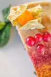 Raw vegan cake with red currants and physalis on the plate, product photography for patisserie, healthy lifestyle Stock Photos