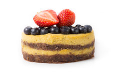Raw vegan cake. On a white background royalty free stock image