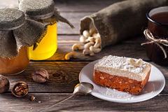 Raw vegan cake on wooden table Royalty Free Stock Image