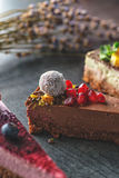 Raw vegan cakes with fruit and seeds, decorated with flower, product photography for patisserie stock image