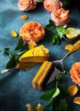 Raw vegan cakes. Raw vegan sweet cakes with mango,pineapple, buckthorn and nuts stock photos