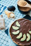 Raw vegan chocolate avocado and banana cake royalty free stock photography