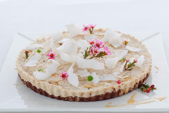 Raw vegan coconut tart. With shredded coconut topping royalty free stock photo
