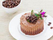 Raw vegan coffee tart. With cacao and mixed nuts stock photo