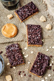 Raw vegan dates oats peanut butter bars with chocolate frosting Stock Image